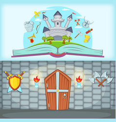 Medieval banner set horizontal cartoon style vector