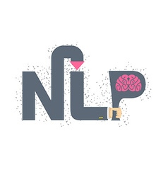 NLP logo and emblem Hand holding a letter with vector image vector image