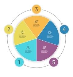 Pie chart Five steps infographics design vector image vector image