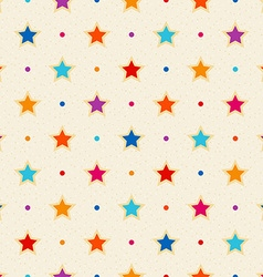 Retro seamless pattern color stars and dots vector