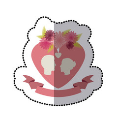 Roses and flowers couple heart icon stock vector