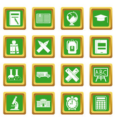 School icons set green vector