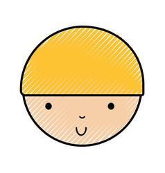 Scribble cute little boy face vector