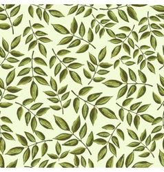 Seamless vintage pattern with painted leaves vector