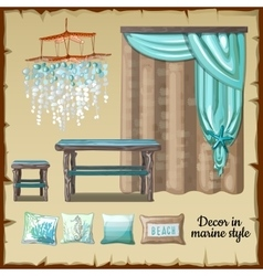 Set of decor and furniture in a nautical style vector