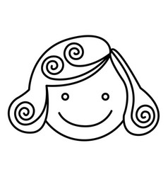 silhouette girl face caricature icon vector image vector image