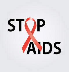Stop aids symbol to 1 december worl aids day vector