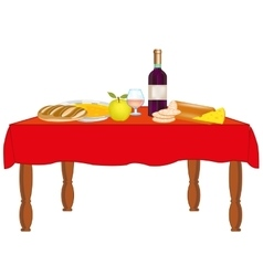 Table with meal and drink vector