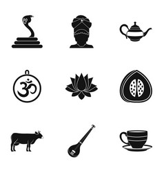 Travel to india icon set simple style vector