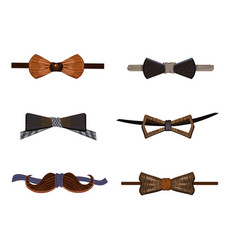 Trendy hipster wooden bow ties collection vector