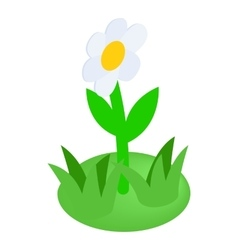 White flower icon isometric 3d style vector image vector image