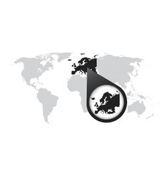 World map with zoom on europe map in loupe in vector