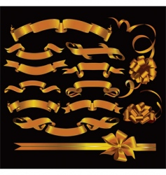 set of gold ribbons vector image