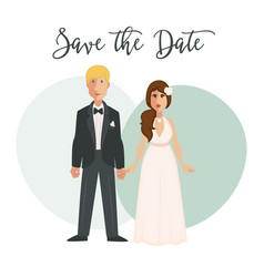 bride and groom in wedding dress on bridal vector image