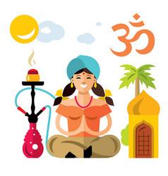 Hindu woman with hookah flat style vector
