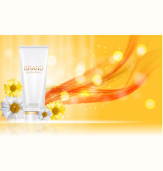 Design cosmetics product bottle with flowers vector