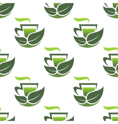 Seamless pattern of green organic tea vector