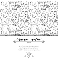 Tea and sweets black and white background vector