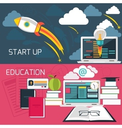 Concept for business start up and online education vector image