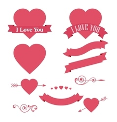 Happy valentines day design element ornaments vector