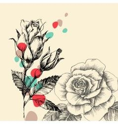 Floral greeting card retro hand drawn roses with vector