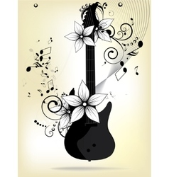 Abstract background with guitar and notes vector
