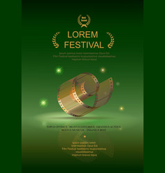 Camera film 35 mm roll gold festival movie poster vector image