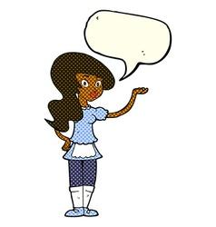 cartoon waitress with speech bubble vector image