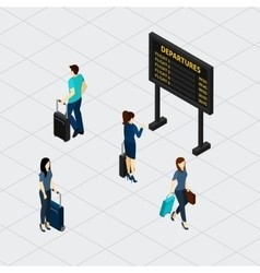 Airport hall passengers isometric banner vector