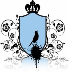 Shield and bird vector