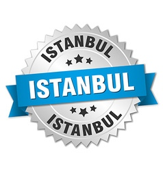 Istanbul round silver badge with blue ribbon vector