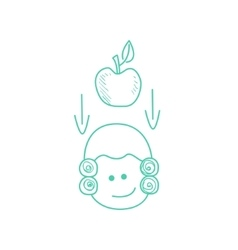 Apple falling on newtons head vector