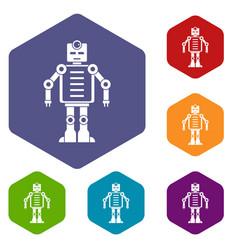 Artificial intelligence robot icons set hexagon vector