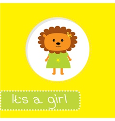 Baby shower card with lion its a girl vector
