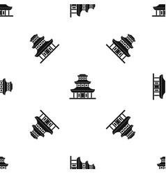 buddhist temple pattern seamless black vector image vector image