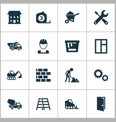 Building icons set collection of measure tool vector