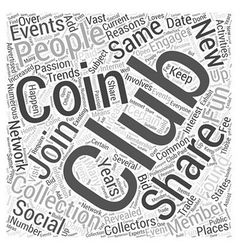Bwcc coin collecting club word cloud concept vector