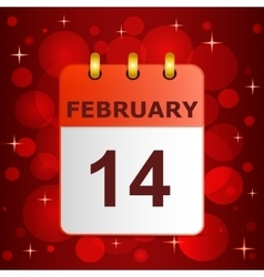 Calendar icon 14 february on festive background vector