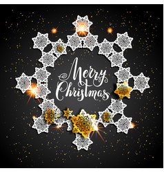 Card with gold snowflakes on black background vector