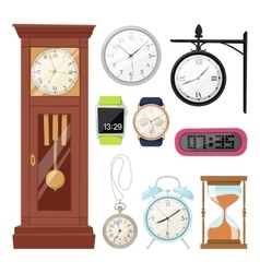 Clock watch alarms icons vector image vector image