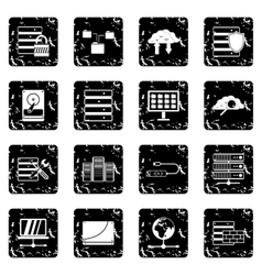Database set icons grunge style vector image