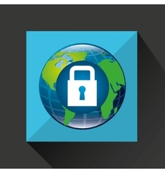 Earth global padlock security data connected media vector