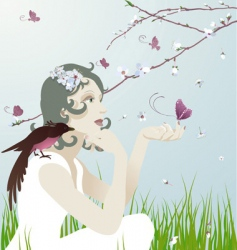 girl and nature vector image