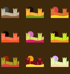 Great wall of china collection vector