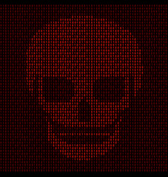 Hacking system abstract luminous skull of red vector