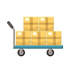 Hand cart with cardboards icon cartoon style vector