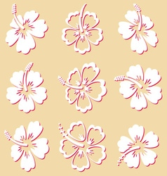 Hibiscus silhouette icons vector image vector image