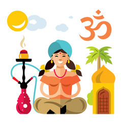 Hindu woman with hookah flat style vector