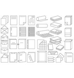 icons linear paper and folders vector image vector image