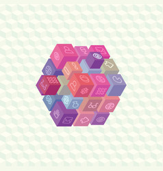 isometric projection infographic array of cubes vector image vector image